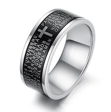 New OPK Black Cross Bible Text 316L Stainless Steel Titanium Men' Ring Xmas Gift