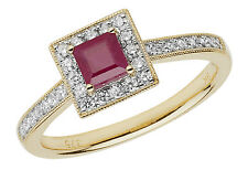 Square Ruby & 0.26ctw Diamond Cluster Ring 9ct Gold British Made Size J-Q