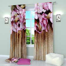 """Gentle Lilies Floral Window Curtains Panel (Set of 2), Polyester, 84"""""""