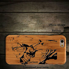 For iPhone 7 6s plus Real Wooden Bamboo Wood Naruto Phone Case Hard Shell
