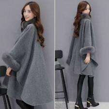 Womens Outdoor Cloak Fox Fur Collar Korean loose Wool Jacket Lady Long Coat cape