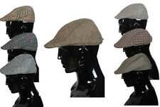 Mens Tweed  Country Wool Mix Flat Cap Peaked Outdoors Soft