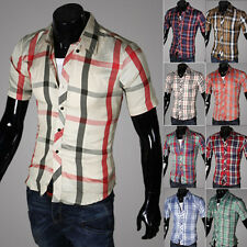 Mens Checks Plaids Short Sleeve Business Casual Shirt Button Down Slim Fit Tops