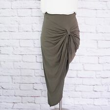 MEBYME Women's Asymmetrical Bodycon Skirt Long Pleated Solid Army Green