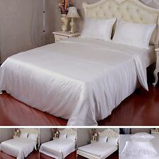 19 Momme 100% Pure Silk Duvet Cover Sheets Pillow Cases Seamless Ivory All Sizes