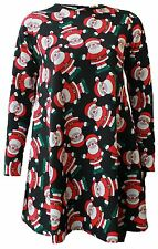 New Womens Christmas Tartan Two Reindeer Hat Santa Rudolph Party Swing Dress