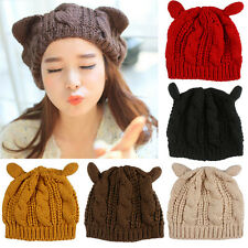 Girl Devil Horns Cat Ear Xmas Beanie Crochet Braided Knitting Ski Wool Cap Hat