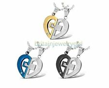 """""""LOVE YOU REALLY"""" Matching Heart Pendant Stainless Steel Valentine Necklaces"""
