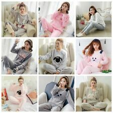 2017 Women Girl Warm Winter Flannel Coral Velvet Nightgown Sleepwear Pajamas Set