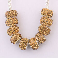 New 5/20Pcs Big Hole Rhinestone  Golden Plated Metal Loose Spacer Beads Finding