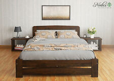 New Solid Wooden Pine Small Double Bedframe Option Drawer/Bedside Walnut Finish