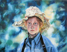 "Girl in Straw Hat, 18"" x 24""  Giclee Print on Canvas of Original Painting"