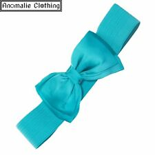Dancing Days Turquoise Bella Wide Belt with Bow - Vintage Retro Rockabilly Pinup