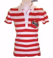 New Women's Superdry Knitted Striped Polo Shirt Blouse Top Red White