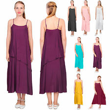 WOMENS LAYERED SLIP MIDI DRESS SUMMER SLEEP ORGANIC SILK COTTON LINEN DRESSES