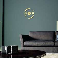 Modern Mirror Wall Clock Removable Decal Wall Sticker Decorate Study Living Room