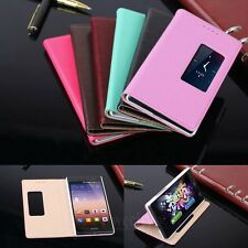 Real Cow Leather Skin Flip Stand Smart Case Phone Cover For Huawei Ascend P7