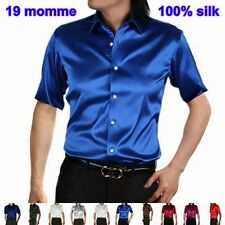 Mens 19 Momme 100% Pure Silk Dress Business Shirts Short Sleeve Aisilk