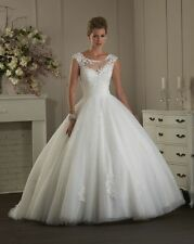 New A-line White/Ivory Bridal lace applique sleeveless Gown Wedding Dress Custom