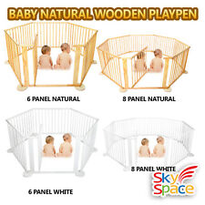 Giant Baby Kids Toddler Deluxe Wooden Playpen Divider Safety Gate Yard Timber