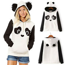 Womens Panda Fleece Pullover Hoodie Sweatshirts Jumper Hooded Sweater Tops Coat