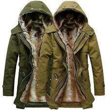 Winter Hooded Outerwear Thicken Warm Men's Fur lined Long Coat Jacket outerwear