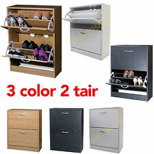 3 COLOR 2 Drawer Wooden Shoe Cabinet Footwear Stand Rack Unit Cupboard Storage