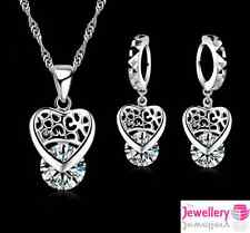 925 Sterling Silver 8mm Crystal Patterned Heart Pendant Necklace & Earring Set