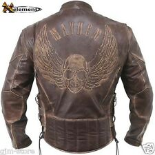 Xelement B96200 Distressed Embossed Premium Cowhide Leather Motorcycle Jacket