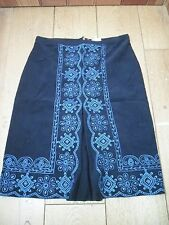 EAST NAVY BLUE EMBROIDERED NEEDLECORD CORD CORDUROY SKIRT UK 8 KICK PLEAT NEW