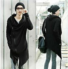 New Mens gothic stylish long coat outwear asymmetric hooded cark cloak cardigan