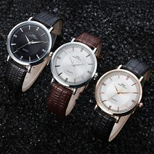 Fashion Unisex Casual Luxury Date Leather Strap Analog Quartz Wrist Watch TY
