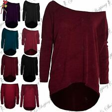 Womens Ladies Fine Knit Off Shoulder Bardot Lagenlook Layering Baggy Jumper Top