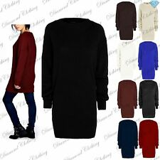 Ladies Womens Long Sleeve Chunky Knitted Oversized Jumper Dress Long Sweater Top
