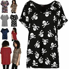 Womens Ladies Turn Up Batwing Oversized T-Shirt V Neck Baggy Top Loose Fit Tee