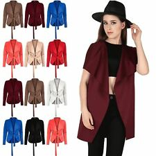 Womens Ladies Tie Belt Waterfall Cape Coat Jacket Blazer Cardigan Top Plus Size