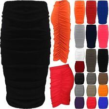 Womens Ladies Stretch Side Ruched Pencil Fit Bodycon Midi Length Skirt Plus Size