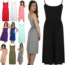 Womens Strappy Waist Ruched Flared Swing Ladies Thin Strap Skater Midi Dress