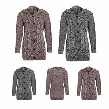 Ladies Hooded Button Long Marl Chunky Cable Knitted Womens Long Cardigan
