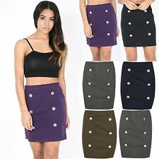 Ladies Mini Skirt Womens Gold Buttons Stretchy Tight Sexy Short Pencil Bodycon
