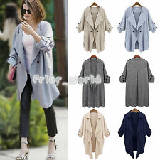 Women Waterfall Open Front Duster Coat Trench Cardigan Jacket Long Top Plus Size