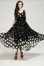 Women Summer Boho Long Maxi Party Beach Dress Evening Floral Polka Dot Dresses