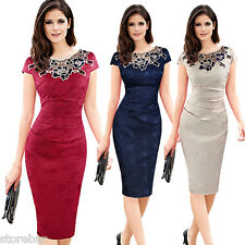New Womens Bodycon Evening Formal Cocktail Ruched Office Work Pencil Party Dress