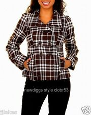 Plaid Black White Double Breasted Peacoat Jacket Pea Coat S M L XL