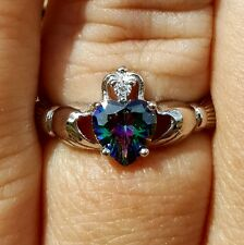 .925 Sterling Silver Claddagh ring CZ Heart Mystic Topaz size 2-13 Irish New