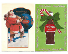 Coca Cola Brand, Lot of Two Advertising Postcards c.1991 & 98 Christmas Designs