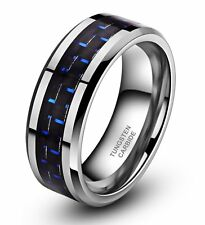 Tungsten Carbide Blue Black Carbon Fiber Ring Men Engagement Wedding Band Silver