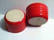 NEW Le Creuset Stoneware Set of Two French Ramekins,7 3/4 Oz., Chili Red, Bowls