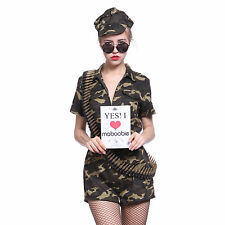 US Army Girl Soldier Camo Combat Military Commando Outfit Fancy Costume w/ Hat