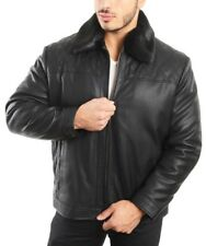 Smooth Lamb Touch Faux Leather Detachable Fur Collar Classic Jacket